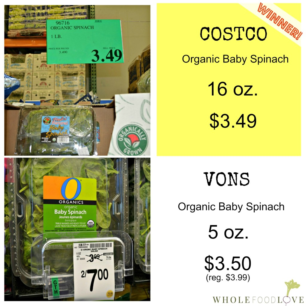 WFL Organic Spinach Comparison 2